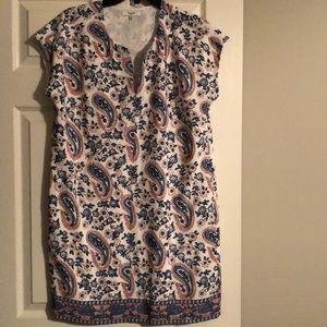 Madewell white blue pink short sleeve dress